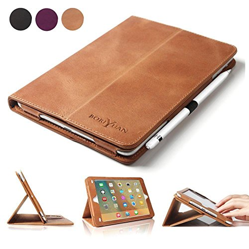 BoriYuan iPad Pro 9.7 Case, Vintage Genuine Leather Smart Cover Protective Slim Folio Flip Stand for Apple iPad Pro 9.7 Inch with Card Slot Magnetic Sleep/Wake+Stylus+Screen Protector, Brown