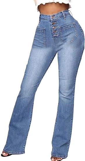 Women High Waist Boot Cut Buttons Stretch Pockets Denim Jeans Pant
