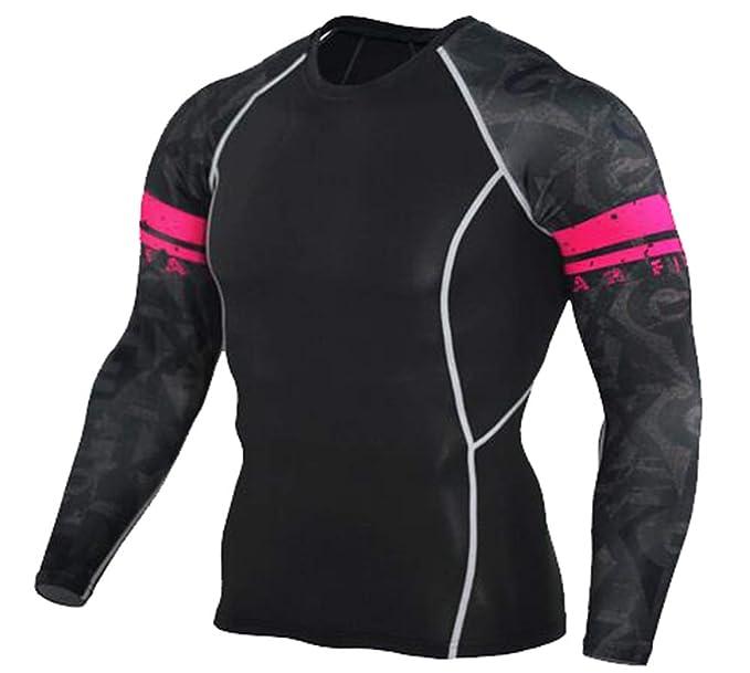 Cayuan Camiseta Manga Larga de Compresion para Hombre Transpirable Secado Rápido Deportiva Yoga Ciclismo Fitness Entrenamiento T-Shirts Tops Moda