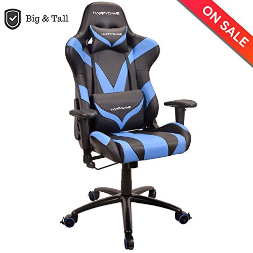 Price comparison product image HAPPYGAME 400 lbs Capacity Racing Gaming Chair Ergonomic High-Back PU Leather Office Swivel Chair Oversized Computer Desk Chairs with Headrest and Lumbar Support,  Blue
