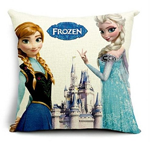tton & Linen Pillow Cover Cushion Case, 18 X 18 Inch,Frozen cushion cover Style 2 ()