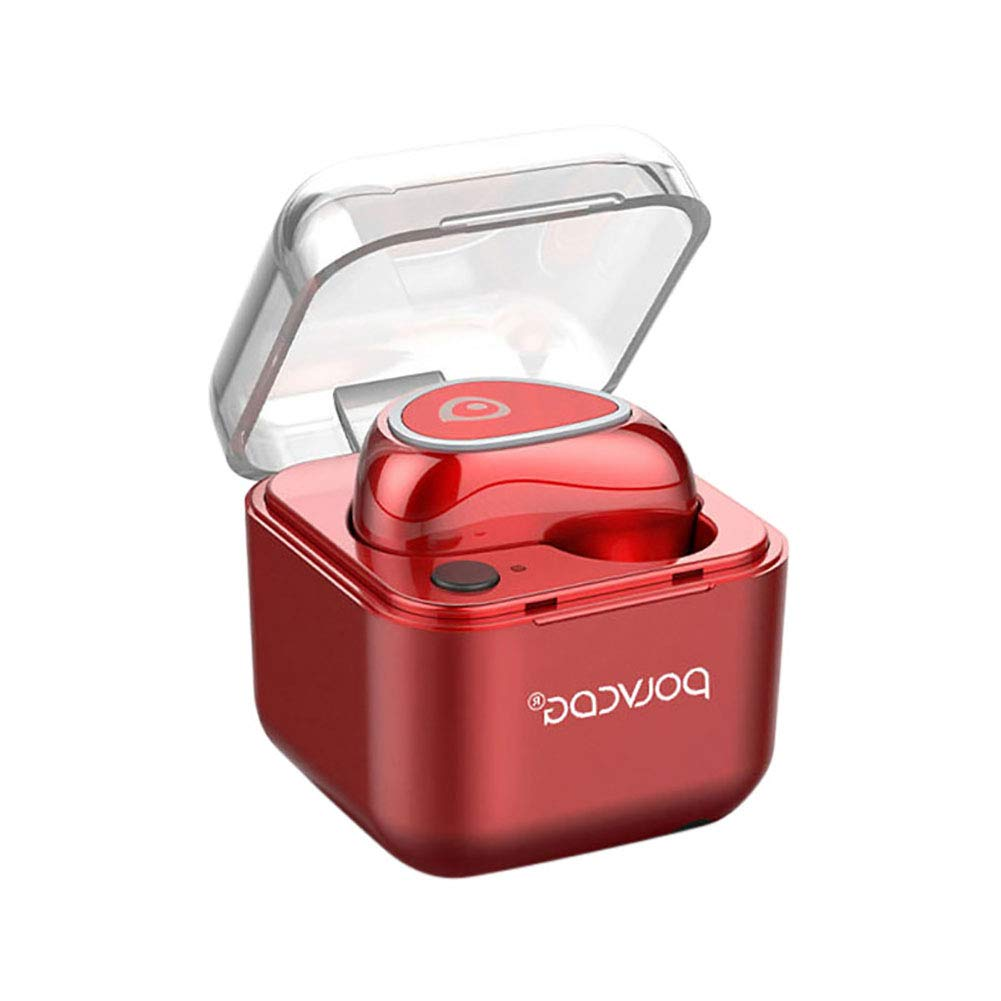 newshijieCOb M19 1Pc in-Ear Wireless Earbuds Bluetooth Earbuds Headphones Stereo Wireless Earphones with Charging Case Red
