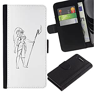 Stuss Case / Funda Carcasa PU de Cuero - Muchacha de Hawaii Vestimenta Lanza Beach Art Dibujo - Sony Xperia Z3 Compact