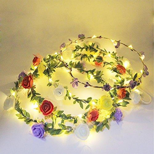 eVmo Set of 4 LED Flower Wreath Headband - Crown Floral Garland Bohemia for Festival Wedding Beach Park Party Child Headdress LE01