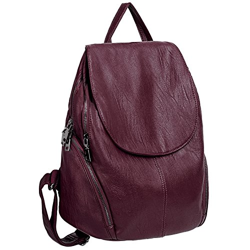 UTO Women Backpack Purse PU Washed Leather Large Capacity Ladies Rucksack Shoulder Bag Red by UTO