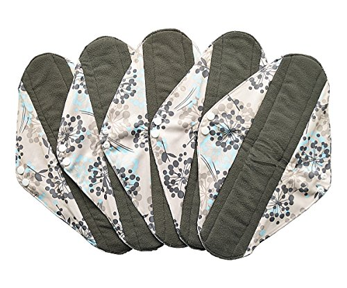 5 Pieces Charcoal Bamboo Mama Cloth/ Menstrual Pads/ Reusable Sanitary Pads (Overnight (14 inch), Silver)