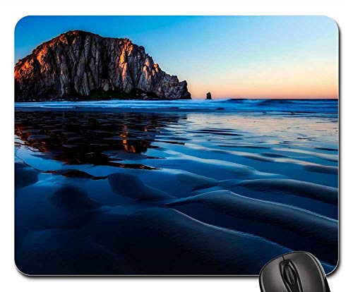 Mouse Pad - Morro Bay California Sunset Dusk Rock Formation