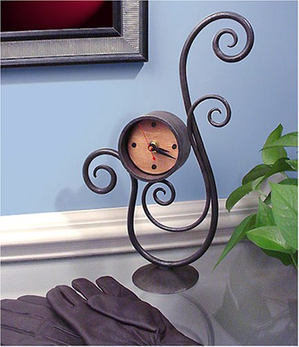 American Made Forged Iron Scroll Table Clock with Copper Face