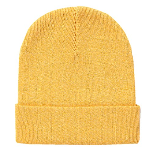 Home Prefer Classic Soft Warm Knitted Hat for Infant Baby Boys Girls Skull Beanies Yellow, S