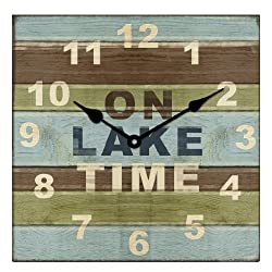 Young's Square Wood Lake House Clock, 13-Inch