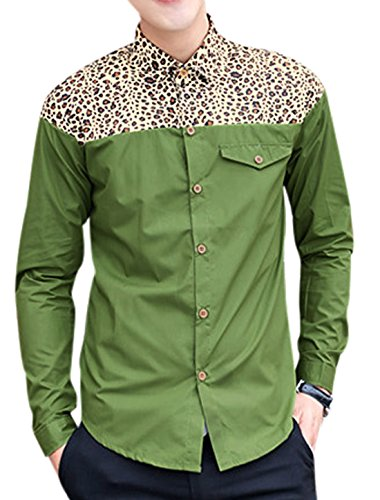 Men Leopard Panel Single Breasted Fashion Shirt Army Green M