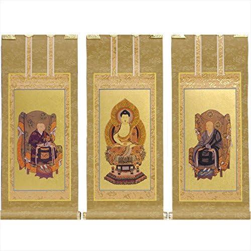 仏縁堂ブランド:国産掛軸・もくらん金本紙曹洞宗・3枚セット・150代
