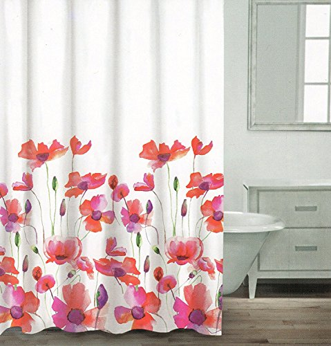 Caro Home Watercolor Poppy Flower Blossom Painting Shower Curtain Red Purple Orange Green Colorful Floral Botanical Nature