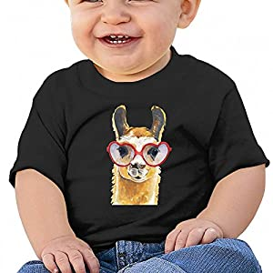 Wodehous Adonis Funny Llama with Heart Sunglass Baby Casual Round Neck T-Shirts Short Sleeve Tops