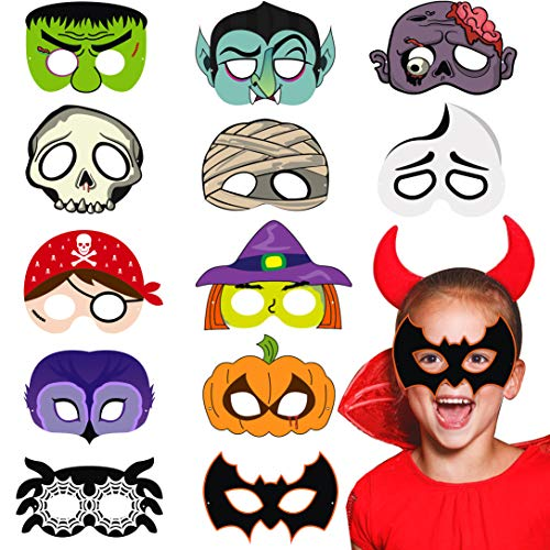 MALLMALL6 24Pcs Halloween Masks Dress Up Costumes Trick or Treat Scary Theme Party Favors Supplies Pretend Play Green Monster Bat Mummy Skeleton Pumpkin Ghost Witch Owl Vampire Zombie Pirate ()