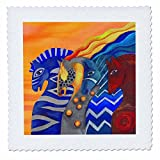 3dRose Dasistleyli - Animals - Impressionistic drawing of four horses denoting four elements - 22x22 inch quilt square (qs_280175_9)