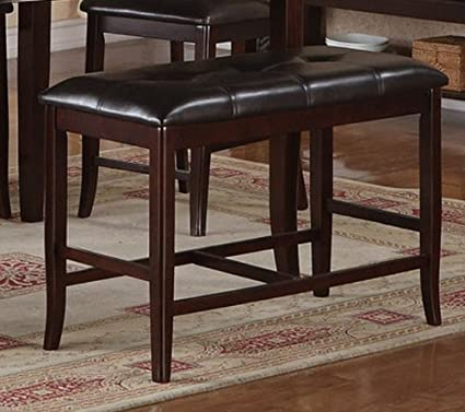Amazoncom Poundex Counter Height Dining Bench In Deep Brown - High top dining table with bench