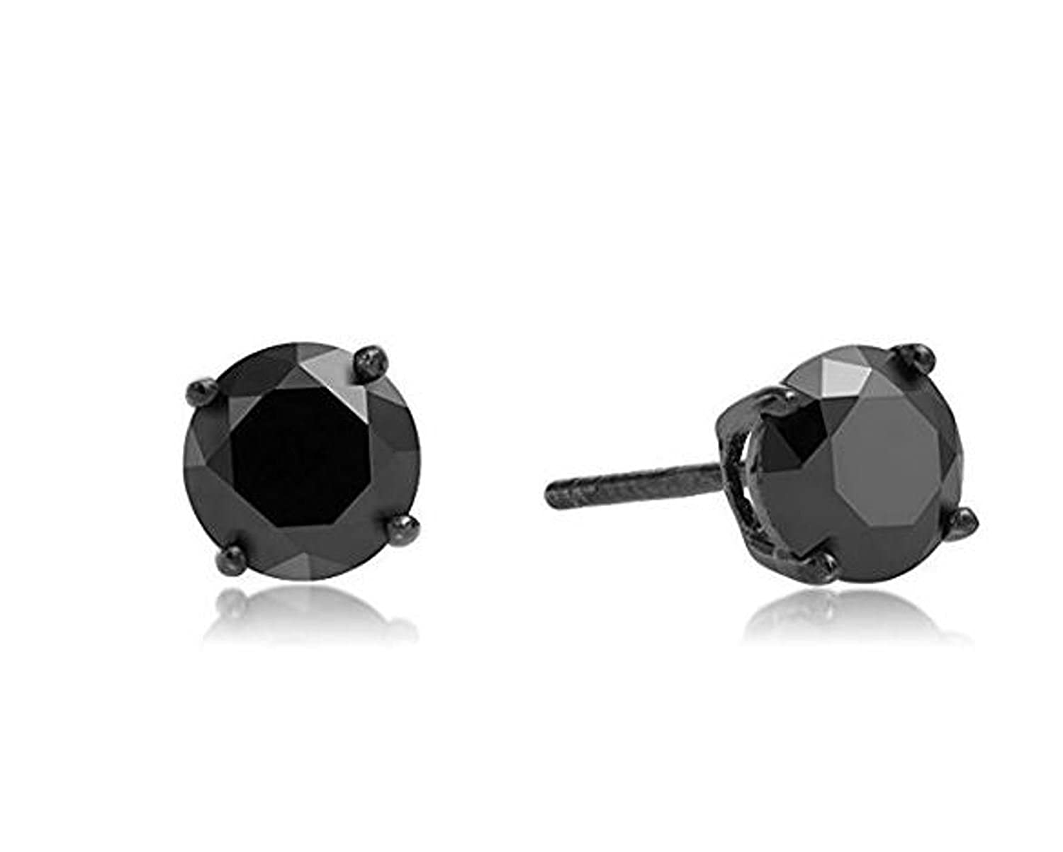 b343ddb7d9084 Surgical Stainless Steel Studs Earrings Men, Women, Girls, Boys BLACK Round  Basket Setting BLACK Cubic Zirconia Hypoallergenic Earrings WITH A FREE ...