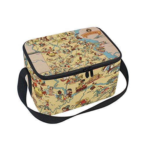 Vintage 1935 Missouri State Map Insulated Lunch Box Cooler Bag Reusable Tote Outdoor Travel Picnic Bags -