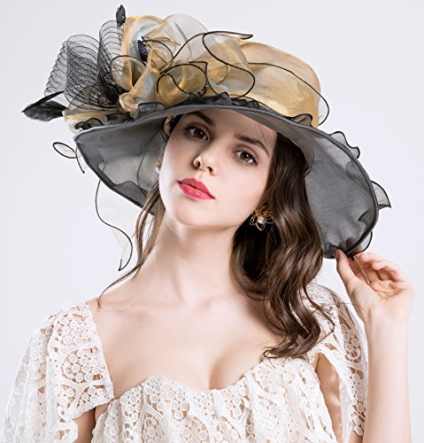 Party YIUOER ROYOU Wedding Fascinator Hats Dress for Tea 50 Vacation Cap Church Derby Womens UPF Mysterious Organza Gold British PrdwxrCqR