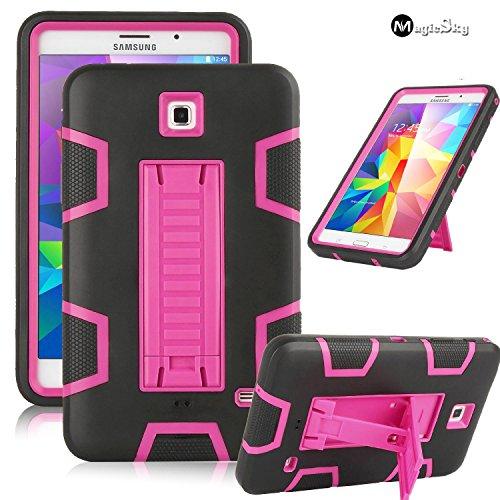 Galaxy Tab 4 7.0 Case, MagicSky 3in1 Heavy Duty Hybrid Shockproof Armor Kickstand Case for Samsung Galaxy Tab 4 7.0 T230 /T231/ T235 Galaxy Tab 4 Nook Cover - Hot Pink/Black (Samsung Galaxy Tab 4 Nook 7 Case)