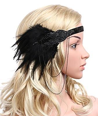 BABEYOND Women's Roaring 20s Feather Headband 1920s Headpiece Hair Band Beaded Headband