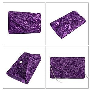 Jubileens Women's Elegant Floral Lace Envelope Clutch Evening Prom Handbag Purse (Purple)