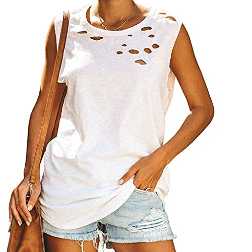 Deesee(TM)_Women Hole Casual Tank Tops Sleeveless Crew Neck Loose Summer Shirts Blouses (XL, White)