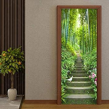 Autoadhesivo Impermeable Etiqueta De La Puerta 3D Bosque Verde Escalera De Bambú Murales Wallpaper Sala De Estar Decoración Del Hogar Etiqueta De La Pared 3 D 215 * 95 Cm: Amazon.es: Bricolaje y herramientas