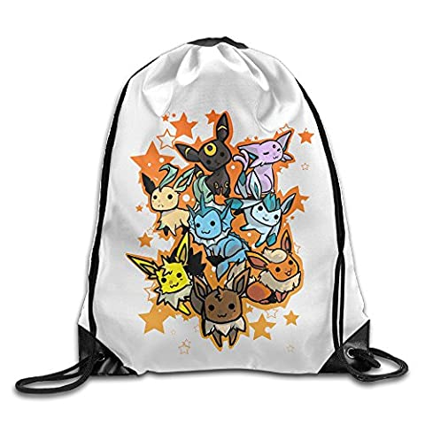 Bekey Cute Eevee Evolution Training Gymsack For Outdoor And Sports Activities (Dangerous Evolution)