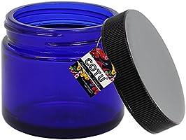 357b94c77ed5 12 x 2oz New Empty Cobalt Blue Glass Jars with Black Ribbed Skirt ...