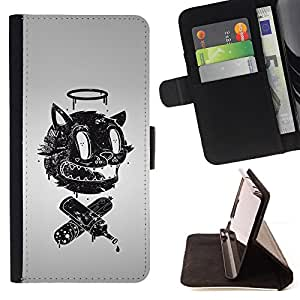 - Funny Retro Abstract Face - - Prima caja de la PU billetera de cuero con ranuras para tarjetas, efectivo desmontable correa para l Funny HouseFOR HTC DESIRE 816