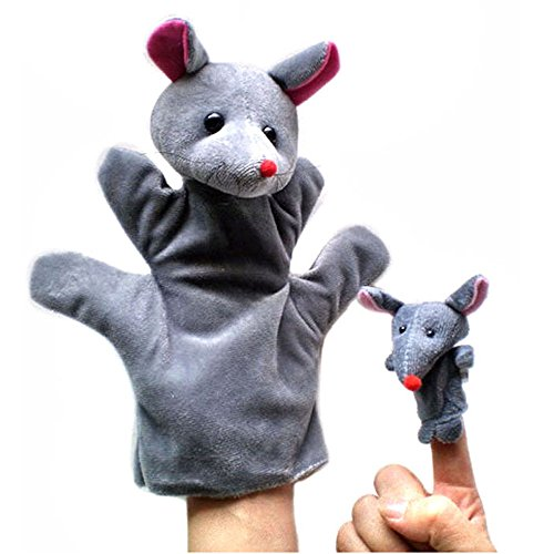 Hisoul Hand Puppets 2Pcs Set - Soft Flannel Hand Puppets for Kids- Cute Cartoon Animal Doll Finger Toys - Perfect for Mothers Storytelling, Teaching, Preschool Early Education Toys Gift (I) for $<!--$2.09-->