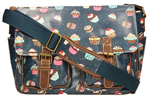LYDC Cupcake Satchel Bag Girls School Bag Womens Handbag (Navy Blue) (Cupcake Bag)