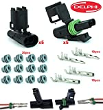 delphi electrical connectors - Delphi Packard 5 Completed Set (2 Circuits) Weatherpack, Waterproof, Terminal Kit 14, 16 AWG