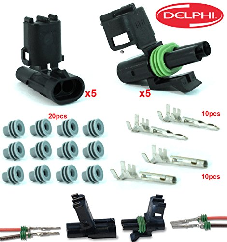 Delphi Packard 5 Completed Set (2 Circuits) Weatherpack, Waterproof, Terminal Kit 14, 16 (Weather Pack Connector)