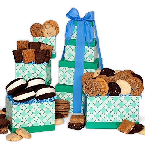 GourmetGiftBaskets.com Baked Goods Gift Tower, Gourmet Gift Baskets Prime Delivery, Bakery Gift, Kosher Gift, Chocolate Gift, Gift Tower - Birthday, Christmas, Sympathy, Men, Women, Family, Corporate