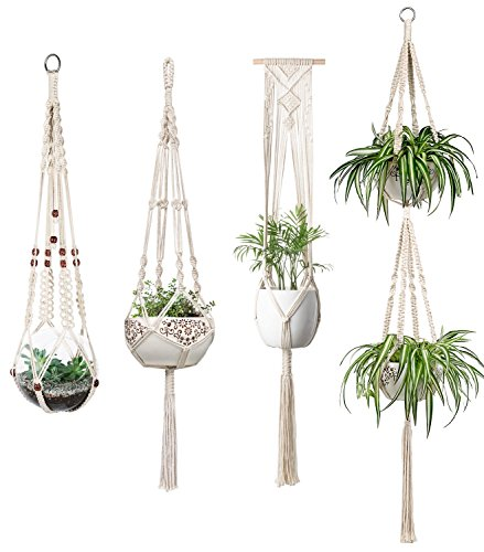 Set Box Planter - Mkono Macrame Plant Hangers Set of 4 Indoor Wall Hanging Planter Basket Flower Pot Holder Boho Home Decor Gift Box