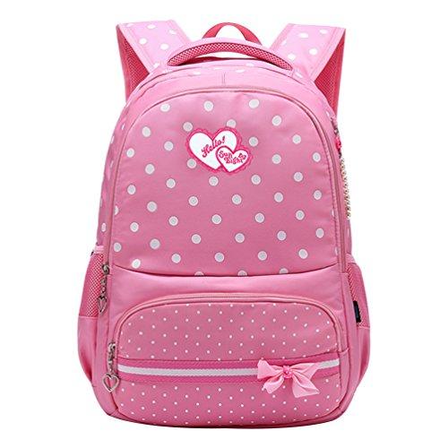 Vbiger Kinder Rucksack Schulrucksack Schüler Schultasche Buch BagDaypack für Grundschüler Rosa