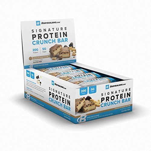 BodyBuilding.Com Signature Protein Crunch Bar | 20g Whey Protein Low Sugar | Gluten Free No Artificial Flavors | (12 Bars, Chocolate Peanut Butter)