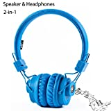 GranVela Bluetooth Headphones with Speakers Combo,Multifunction Headset with FM Radio, Micro SD Card/TF Card Player,APP,Built-in Mic and Sharing Port (Blue)