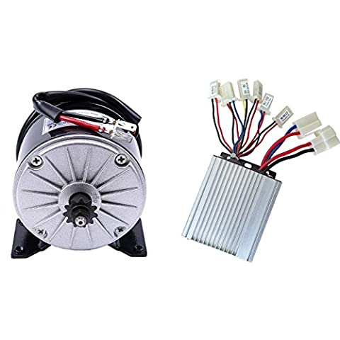 JCMOTO 36v 350w Brushed Speed Motor and Controller Set for Electric Scooter Go Kart Bicycle e Bike Tricycle - 36 Volt Motor
