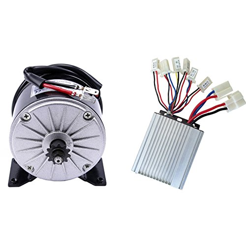 JCMOTO 36v 350w Brushed Speed Motor and Controller Set for Electric Scooter Go Kart Bicycle e Bike Tricycle Moped