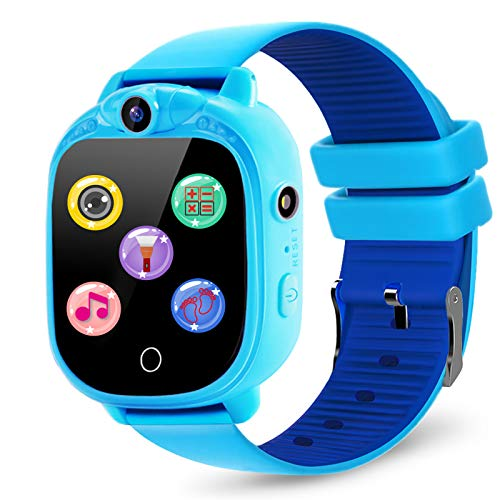 PROGRACE Kids Smartwatch with 90°Rotatable Camera Touchscreen Kids Watch Music Pedometer Flashlight Games FM Radio Kids…