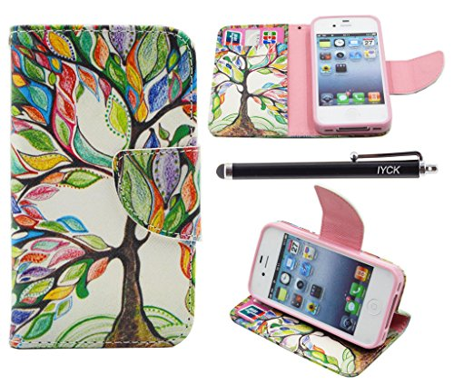 iPhone 4S Case, iPhone 4 Case Wallet, iYCK Premium PU Leather Flip Folio Carrying Magnetic Closure Protective Shell Wallet Case Cover for iPhone 4 / 4S with Kickstand Stand - Tree and Leaf