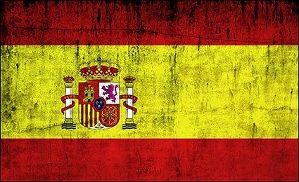 Vintage de la bandera de España adhesivo (Distressed Español ...