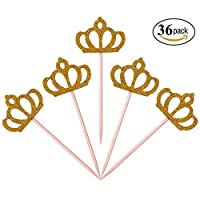 Aresmer 36 Pack Cupcake Toppers Gold Glitter Crown Princess Cake Decoration Dessert Table Birthday Party Decor
