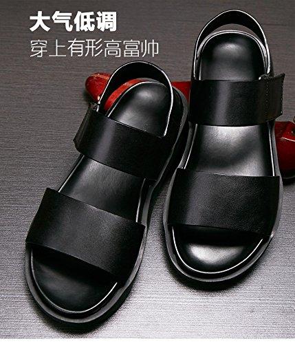 Happyshop (tm) Mens Vache En Cuir Épais Plate-forme Sandales Loisirs Respirant Antidérapant Mode Chaussures Noir