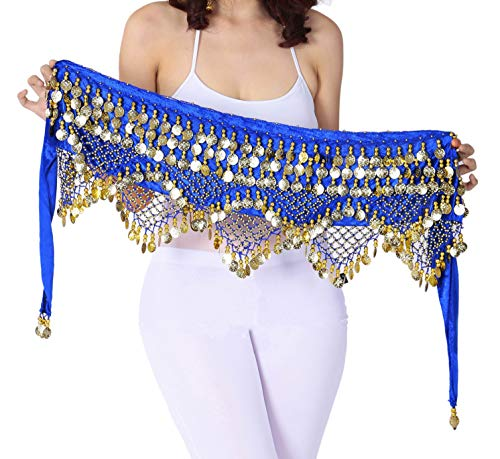 Hip Scarf with Coins Women Blue Bellydance Skirt Gypsy Costumes Coined Wrap Skirt (Scarf Coin Belt Belly Dance)