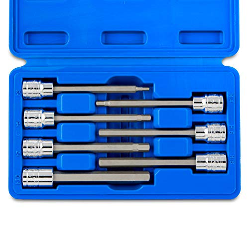 Neiko 10076A 3/8-Inch Drive Extra Long Metric Hex Bit Socket Set, 7 Piece | 1/8-3/8 inch, S2 Steel ()